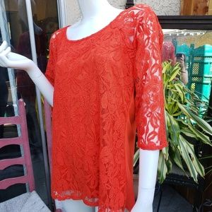 Sexy Lace 3/4 Sleeve Blouse M XL